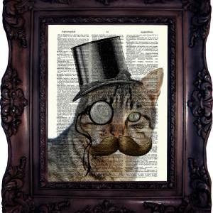 Steampunk Cat. Dictionary art print..