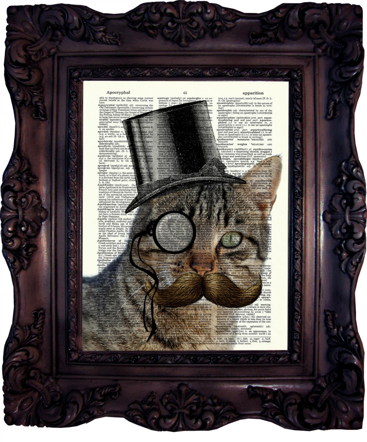Steampunk Cat. Dictionary art print. Vintage Art Print on Book Page. Art print Cat. Dictionary print. Geekery. Cat in Top Hat. Code:333