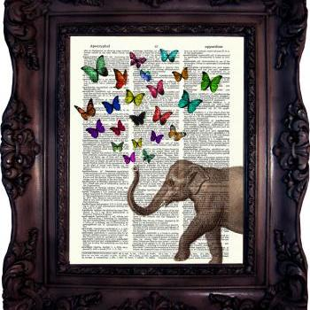Elephant with Butterflies. Dictionary art print. Vintage Art Print on Book Page. Elephant Art print. Wall art. Dictionary print. Code:513