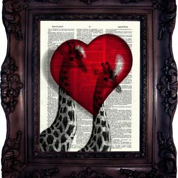 Giraffes in love. Dictionary art print. Vintage Art Print on Book Page. Giraffe Art print. Wedding Decor. Love. Dictionary print. Code:512