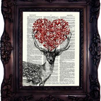 Deer and Heart. Dictionary art print. Vintage Art Print on Book Page. Deer Art print. Wall art. Decor. Love. Dictionary print. Code:510