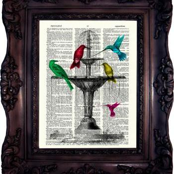 Bird Bath in Fountain.Vintage Dictionary Art Print. Old Book Page. Art print on Dictionary Page. Code:222
