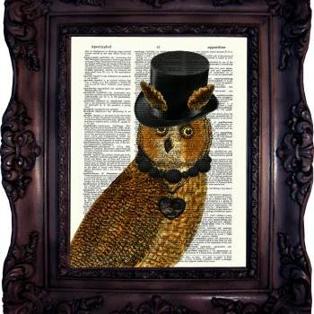 Steampunk Owl Art. Dictionary art print. Vintage Art Print. Book Page. Art print on Dictionary print. Steampunk Owl. Code:140